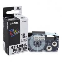 Casio originální páska do tiskárny štítků, Casio, XR-18SR1, černý tisk/stříbrný podklad, 18mm