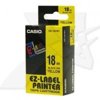 Casio originální páska do tiskárny štítků, Casio, XR-18YW1, černý tisk/žlutý podklad, nelaminovaná, 8m, 18mm