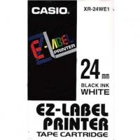 Casio originální páska do tiskárny štítků, Casio, XR-24WE1, černý tisk/bílý podklad, nelaminovaná, 8m, 24mm