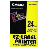 Casio originální páska do tiskárny štítků, Casio, XR-24YW1, černý tisk/žlutý podklad, nelaminovaná, 8m, 24mm