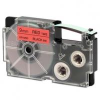Casio originální páska do tiskárny štítků, Casio, XR-9RD1, černý tisk/červený podklad, nelaminovaná, 8m, 9mm
