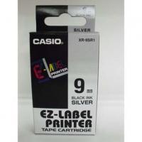 Casio originální páska do tiskárny štítků, Casio, XR-9SR1, černý tisk/stříbrný podklad, nelaminovaná, 8m, 9mm
