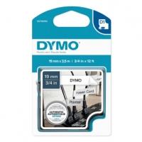 Dymo originální páska do tiskárny štítků, Dymo, 16958, S0718050, černý tisk/bílý podklad, 3.5m, 19mm, D1 speciální - flexibilní ny