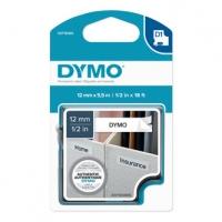 Dymo originální páska do tiskárny štítků, Dymo, 16959, S0718060, černý tisk/bílý podklad, 5.5m, 12mm, D1, speciální - permanentní