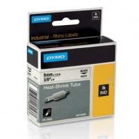 Dymo originální páska do tiskárny štítků, Dymo, 18053, S0718280, černý tisk/bílý podklad, 1,5m, 9mm, RHINO plochá smršťovací bužír