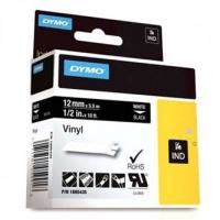 Dymo originální páska do tiskárny štítků, Dymo, 1805435, bílý tisk/černý podklad, 5.5m, 12mm, RHINO vinylová profi D1