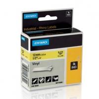 Dymo originální páska do tiskárny štítků, Dymo, 18432, S0718450, černý tisk/žlutý podklad, 5.5m, 12mm, RHINO vinylová profi D1