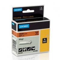 Dymo originální páska do tiskárny štítků, Dymo, 18436, S0718500, černý tisk/oranžový podklad, 5.5m, 19mm, RHINO vinylová profi D1