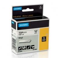Dymo originální páska do tiskárny štítků, Dymo, 18444, S0718600, černý tisk/bílý podklad, 5.5m, 12mm, RHINO vinylová profi D1