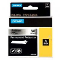 Dymo originální páska do tiskárny štítků, Dymo, 18486, černý tisk/metalický podklad, 5.5m, 12mm, RHINO permanentní polyesterová D1