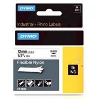 Dymo originální páska do tiskárny štítků, Dymo, 18488, černý tisk/bílý podklad, 3.5m, 12mm, RHINO nylonová flexibilní