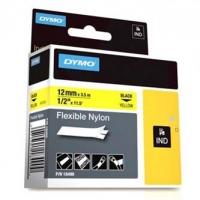 Dymo originální páska do tiskárny štítků, Dymo, 18490, černý tisk/žlutý podklad, 3.5m, 12mm, RHINO flexibilní nylonová