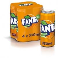 Fanta - plech, 0,33 l, 4 ks
