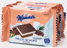 Oplatky Manner Snack - mléko, čokoláda a kokos, 4x25 g