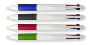 Čtyřbarevné kuličkové pero - 0,5 mm, plastové, mix barev úchopů