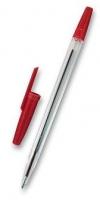 Jednorázové kuličkové pero - 1 mm, plastové, červené