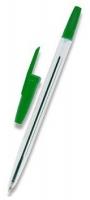 Jednorázové kuličkové pero - 1 mm, plastové, zelené