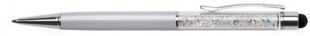 Luxusní kuličkové pero Touch Art Crystella Swarovski – 0,7 mm, bílý krystal, krémově bílé