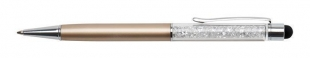 Luxusní kuličkové pero Touch Art Crystella Swarovski – 0,7 mm, bílý krystal, zlaté