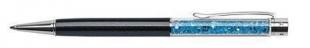 Luxusní kuličkové pero Art Crystella Swarovski – 0,7 mm, modrý krystal, černé