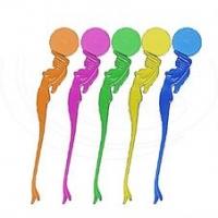 Koktejlové míchátko Afrodita - plastové, 20 cm, transparentní, mix barev, 100 ks - DOPRODEJ