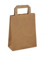 Papírová taška s plochým uchem - 26x17x25 cm, široké dno, hnědá