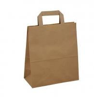 Papírová taška s plochým uchem - 22x10x28 cm, standartní dno, hnědá