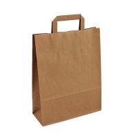 Papírová taška s plochým uchem - 26x12x35 cm, standartní dno, hnědá