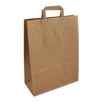 Papírová taška s plochým uchem - 32x12x41 cm, standartní dno, hnědá
