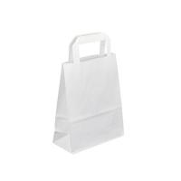 Papírová taška s plochým uchem - 18x8x22 cm, standartní dno, bílá