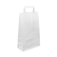 Papírová taška s plochým uchem - 22x10x28 cm, standartní dno, bílá
