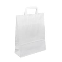 Papírová taška s plochým uchem - 26x12x35 cm, standartní dno, bílá