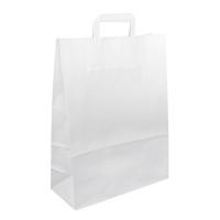 Papírová taška s plochým uchem - 32x12x41 cm, standartní dno, bílá