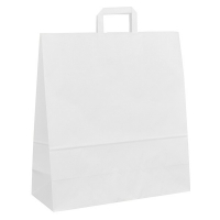 Papírová taška s plochým uchem - 45x17x48 cm, standartní dno, bílá