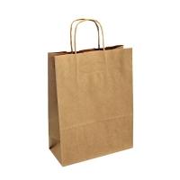 Papírová taška s krouceným uchem - 30,5x17x34 cm, široké dno, hnědá