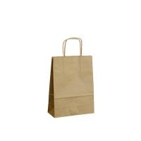Papírová taška s krouceným uchem - 14x8x21 cm, standartní dno, hnědá