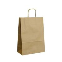 Papírová taška s krouceným uchem - 24x10x32 cm, standartní dno, hnědá
