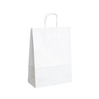 Papírová taška s krouceným uchem - 24x10x32 cm, standartní dno, bílá