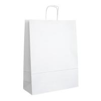 Papírová taška s krouceným uchem - 34x12x41 cm, standartní dno, bílá