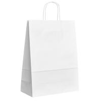 Papírová taška s krouceným uchem - 30,5x17x34 cm, široké dno, bílá