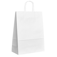 Papírová taška s krouceným uchem - 30,5x17x42,5 cm, široké dno, bílá