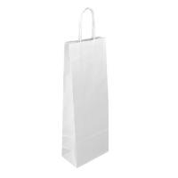 Papírová taška na víno - 14x8x39 cm, bílá