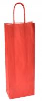 Papírová taška na víno - 14x8x39 cm, červená