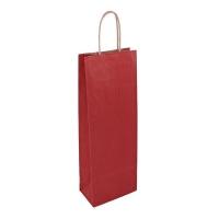 Papírová taška na víno - 14x8x39 cm, tmavě červená