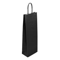 Papírová taška na víno - 14x8x39 cm, černá