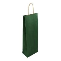 Papírová taška na víno - 14x8x39 cm, tmavě zelená
