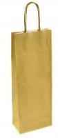 Papírová taška na víno - 14x8x39 cm, metalická zlatá