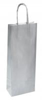 Papírová taška na víno - 14x8x39 cm, metalická stříbrná