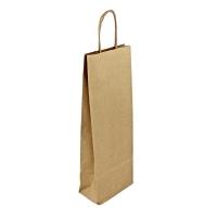 Papírová taška na víno - 14x8x39 cm, hnědá