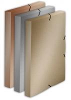 Box na spisy A4 Metallic - s gumou, plastový, stříbrný